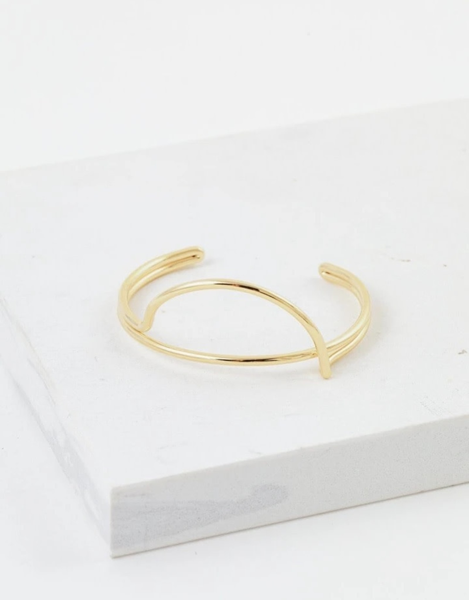 Half Moon Gold Plated Brass Bangle Bracelet