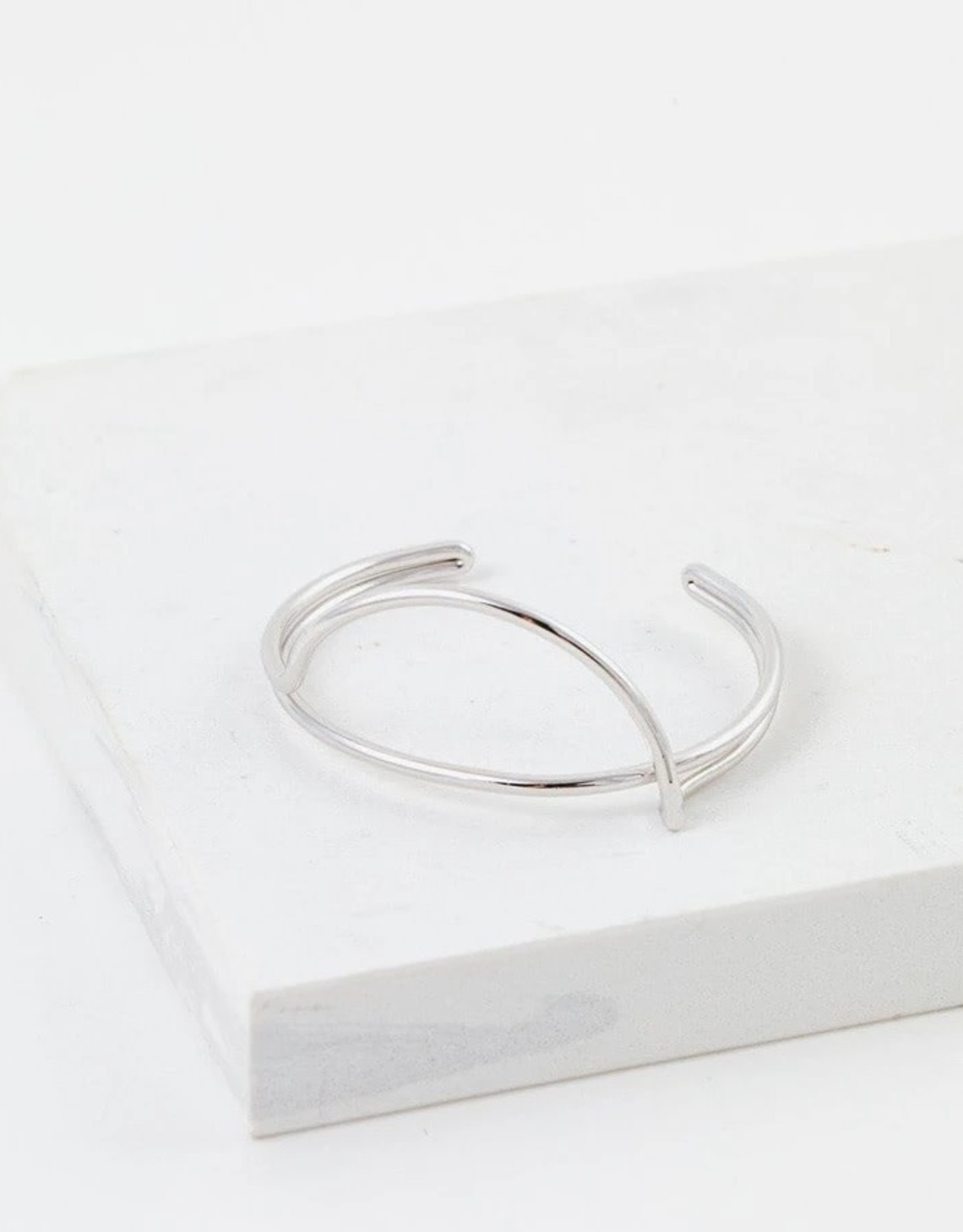 Bracelet, Bangle, Half Moon, Silver Plated Brass