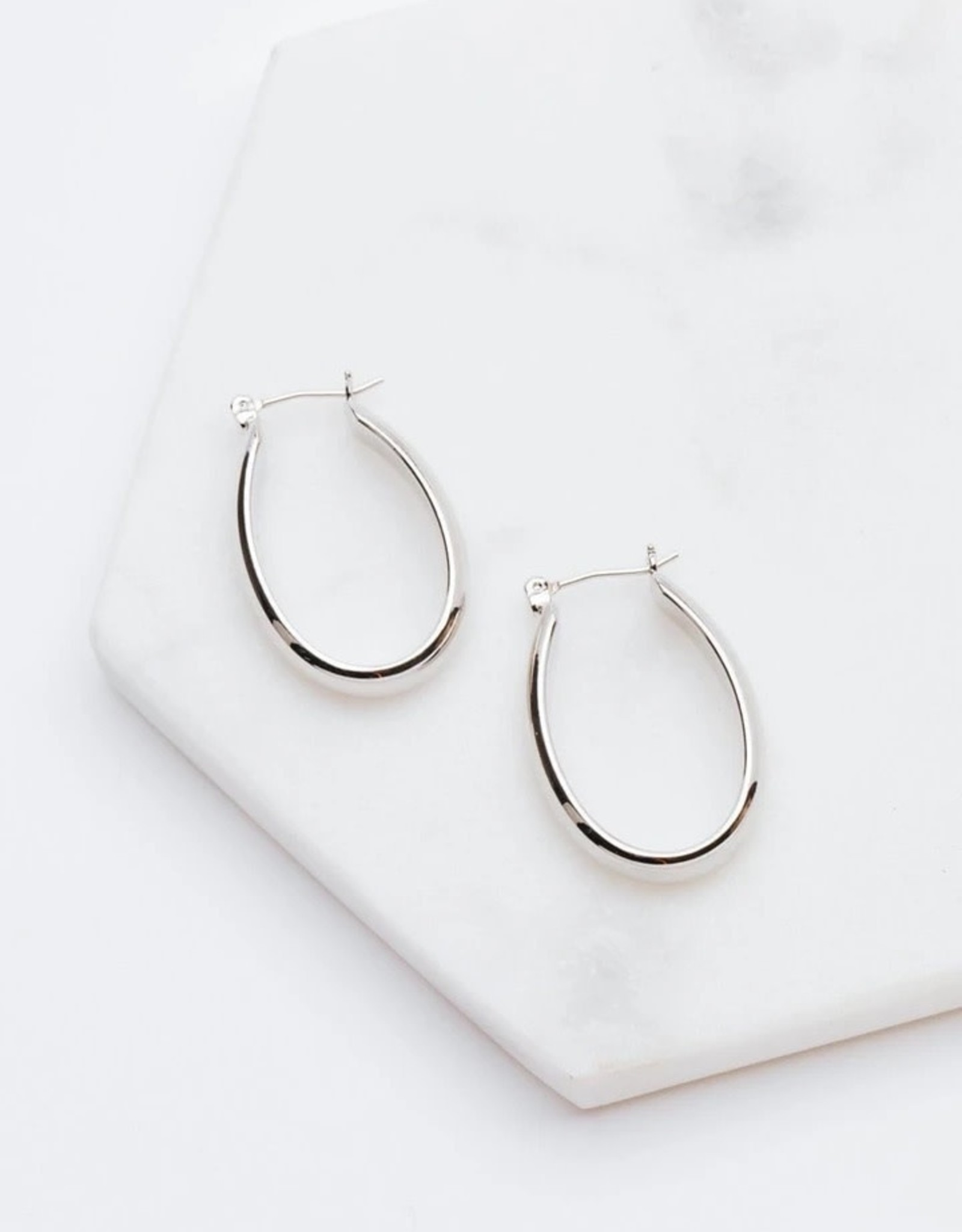 Earrings, Odette, Silver Plated Brass