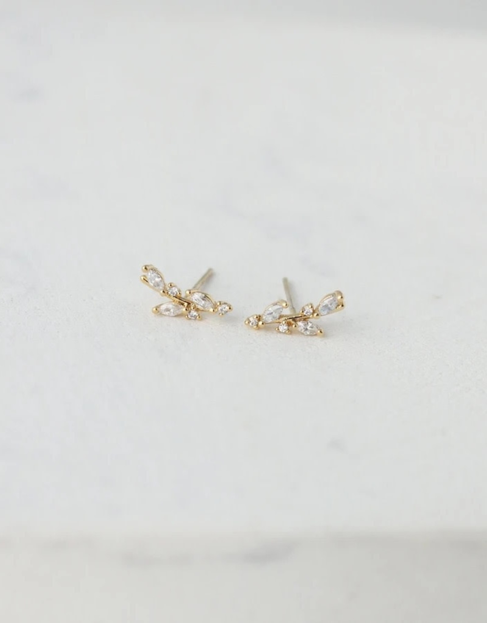 Gold Plated Brass Olive Climber Earrings