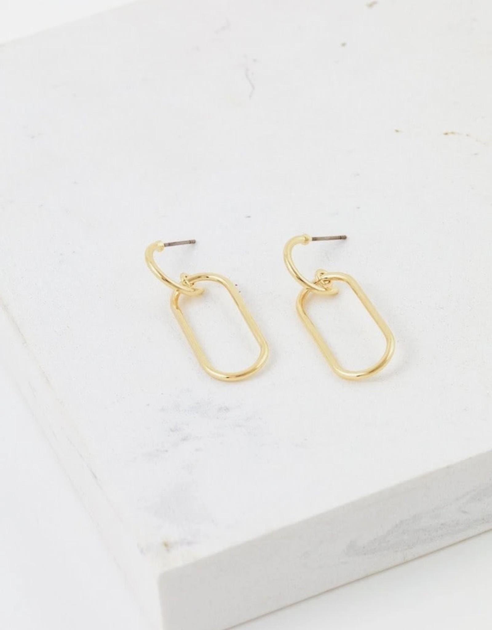 Earrings, Lago Drop, Gold plated brass, Sterling Silver Posts, Gold/Silver-Plated Brass