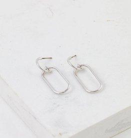 Earrings, Lago Drop, Silver plated brass, Sterling Silver Posts, Gold/Silver-Plated Brass