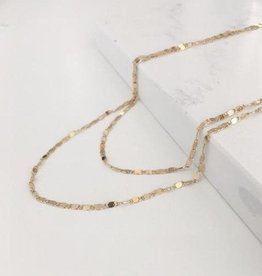Necklace, Double Layered, Plated Brass Chain, Gold, Cleo