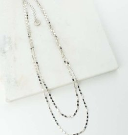 Silver Double Layered Cleo Plated Brass Chain Necklace