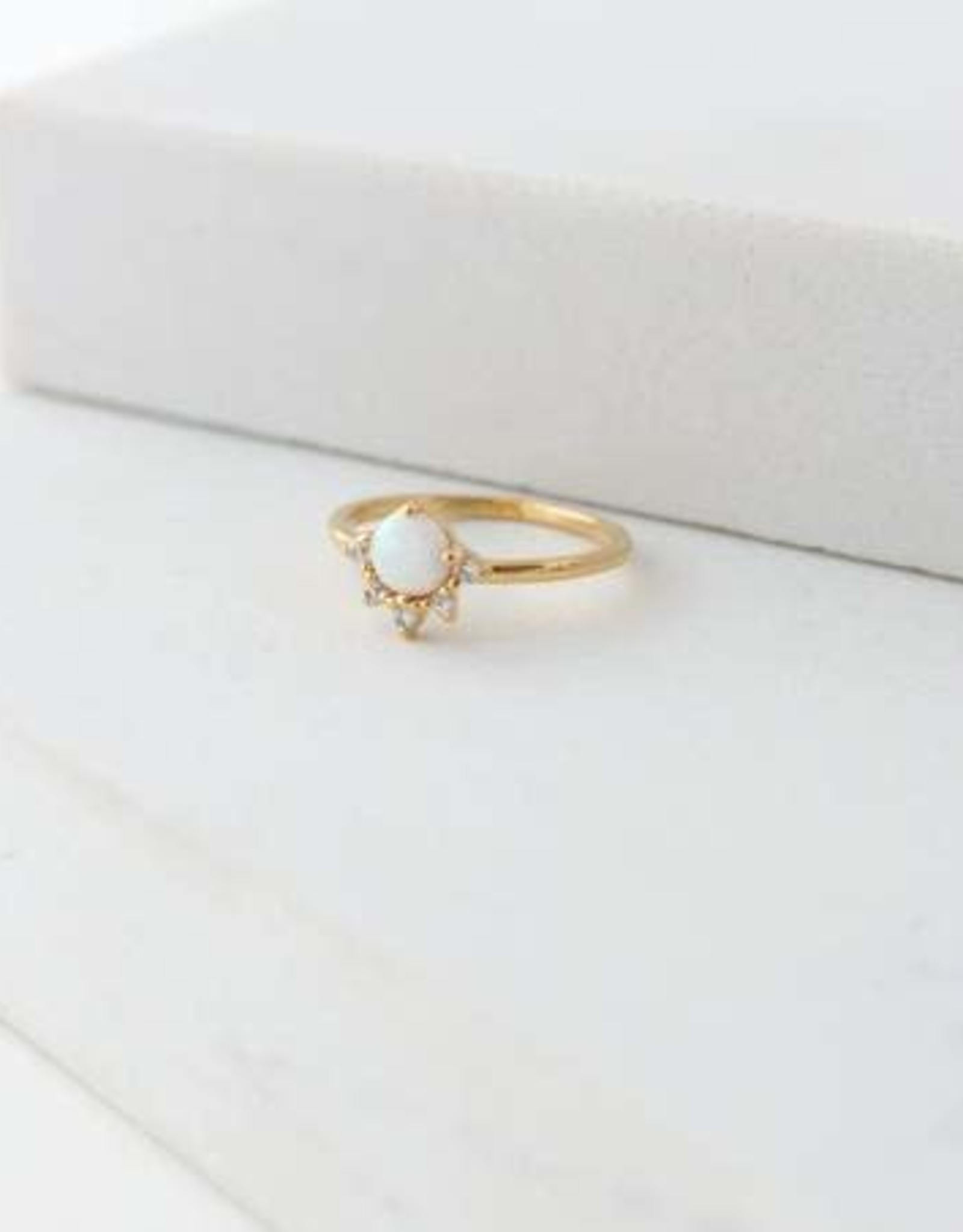 Ring, Juno-Gold/Opal-7 Gold-plated Brass, Cubic Zirconia, Simulated Opal
