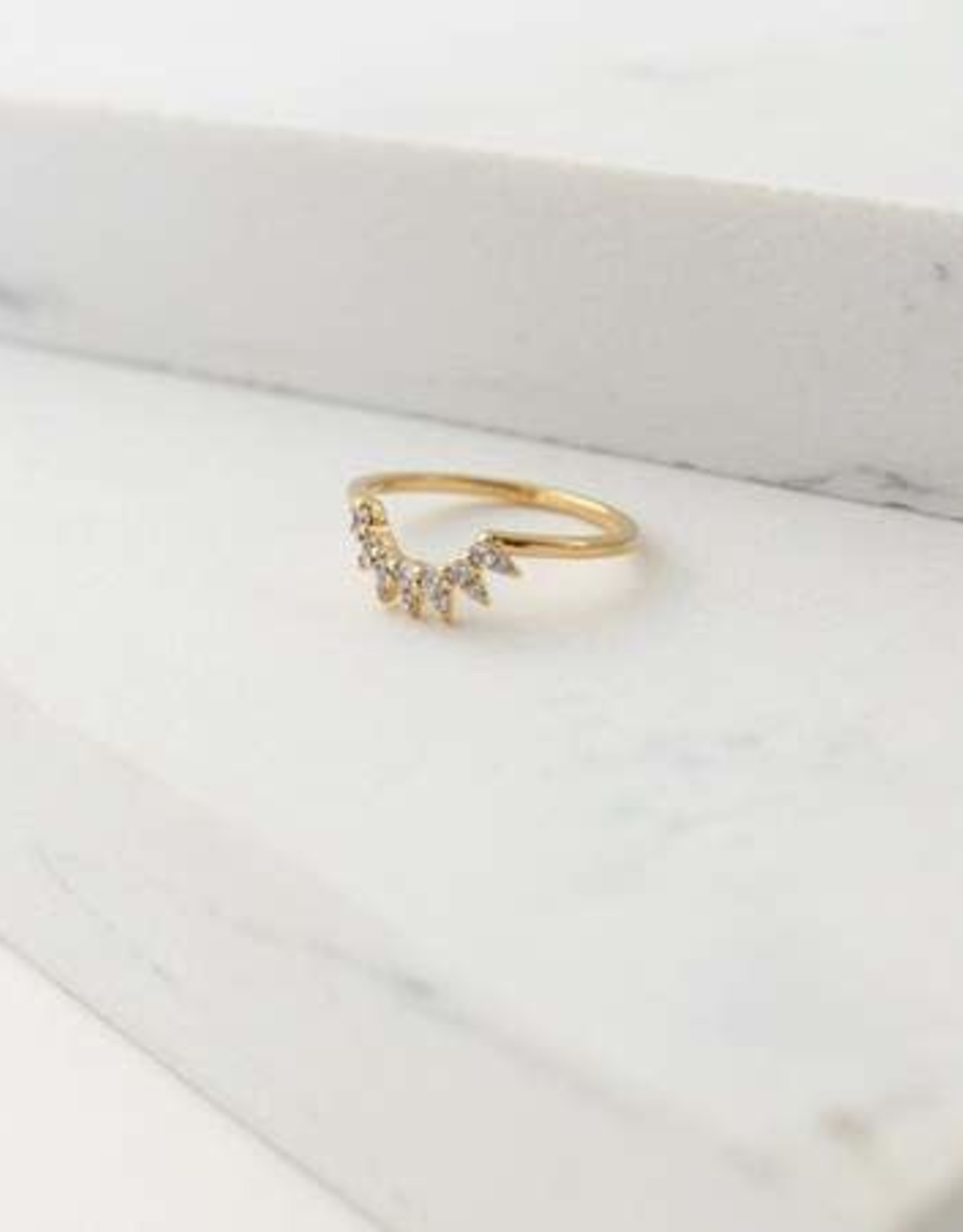 Ring, Gold, Nova, Size 6, Gold-plated Brass, Cubic Zirconia