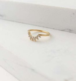 Ring, Gold, Nova, Size 7, Gold-plated Brass, Cubic Zirconia
