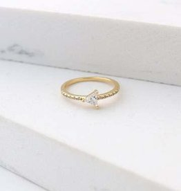 Ring, On Point, Gold, Size 6, Gold-plated Brass, Cubic Zirconia
