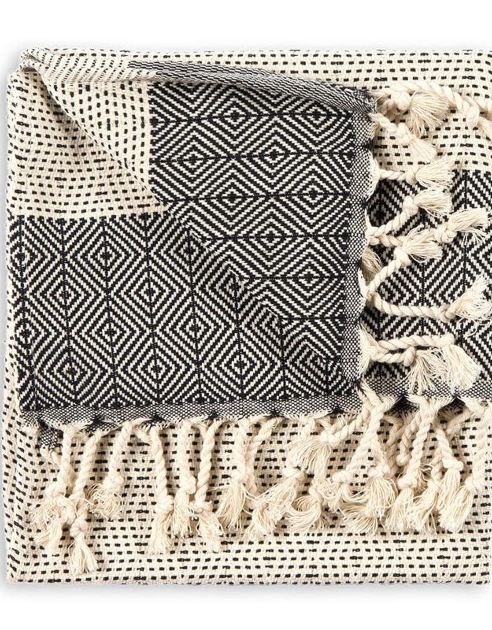 Black Lined Diamond Turkish Hand Towel