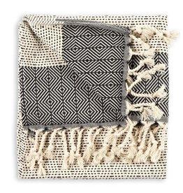 Turkish Hand Towel,  Black Lined Diamond