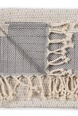 Slate Lined Diamond Turkish Hand Towel