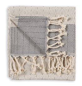 Turkish Hand Towel, Slate Lined Diamond