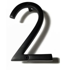 "6"" Black Aluminum House Number 2"