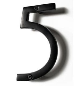 "6"" Black Aluminum House Number 5"