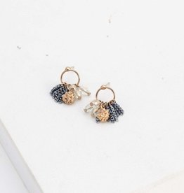 Jardin Cluster Hoop Blue Earrings