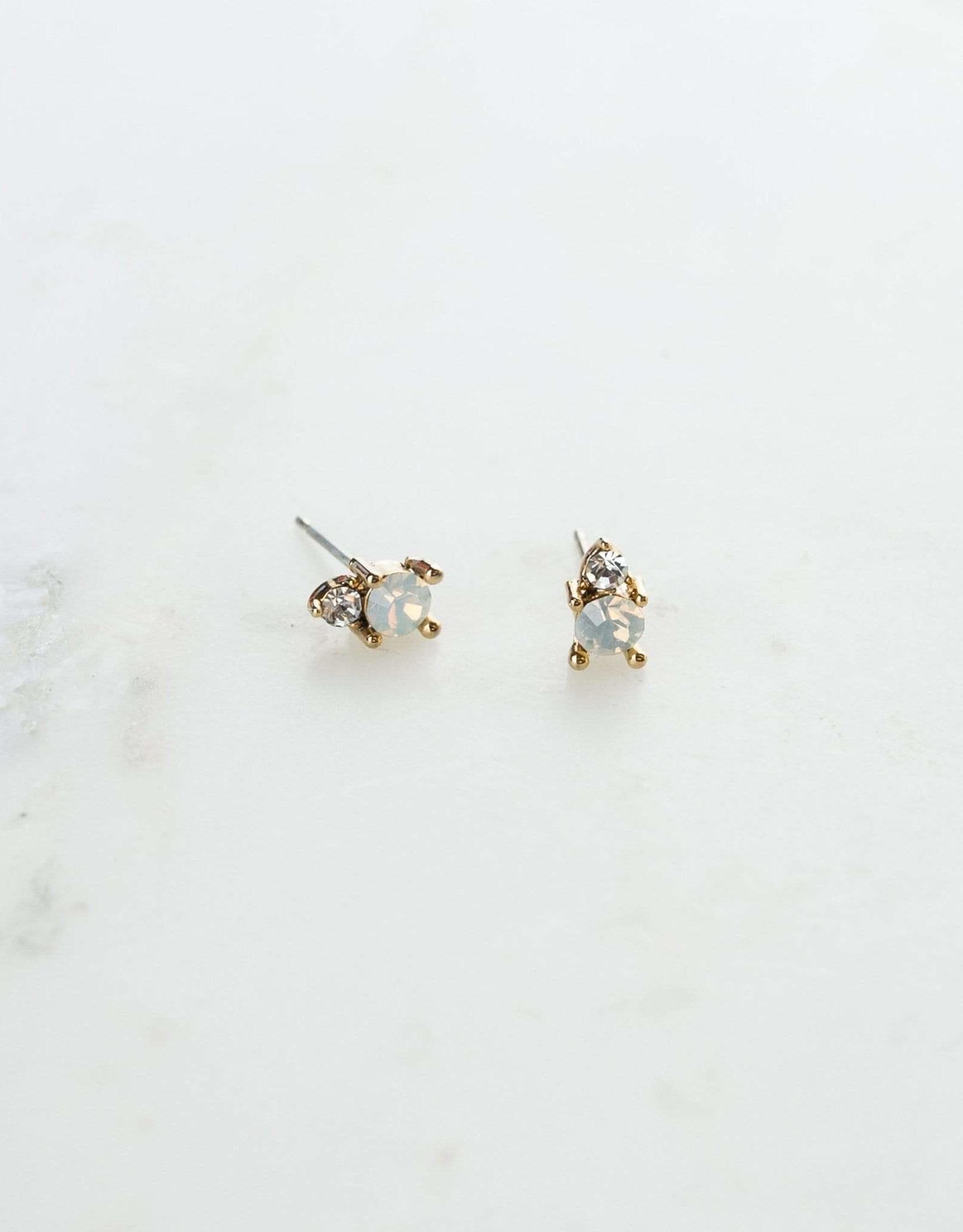 Dolce Stud Earrings - White Opal