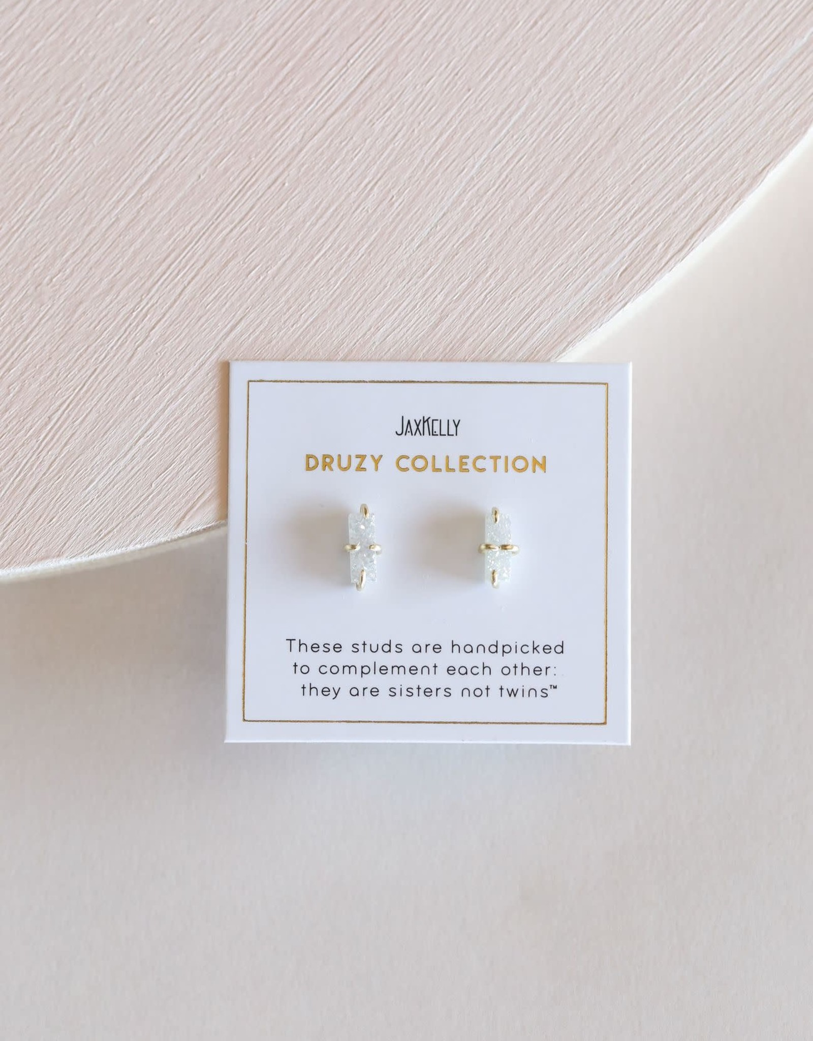 Druzy Bar Earrings - White