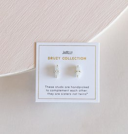 Druzy Bar Earrings - White