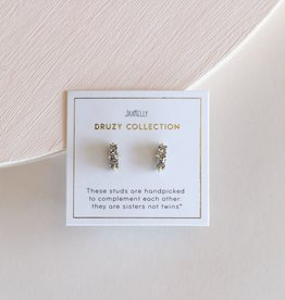 Silver Druzy Bar Earrings