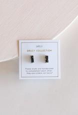 Black Druzy Bar Earrings