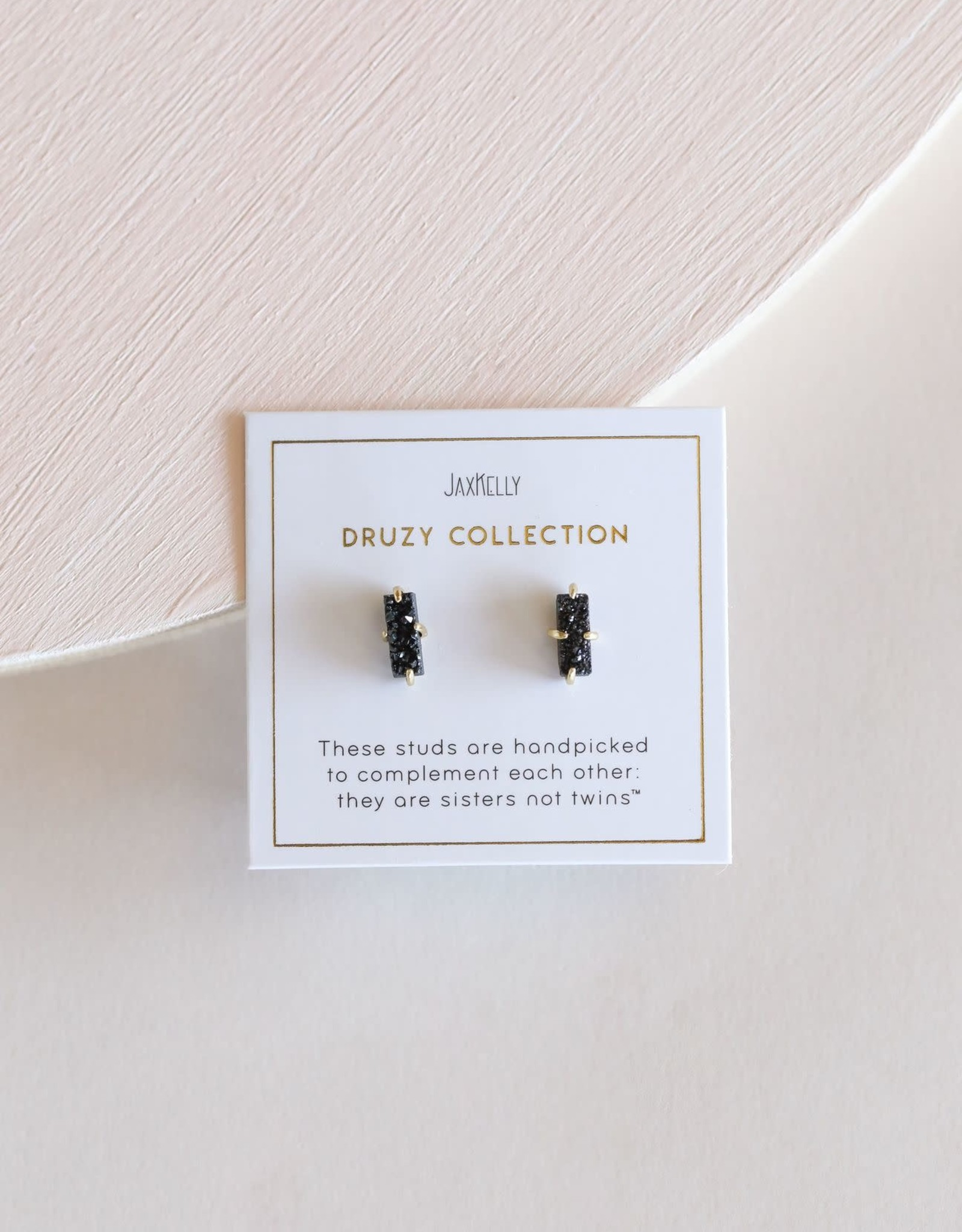 Druzy Bar Earrings - Black