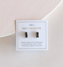 Black Druzy Bar Earrings