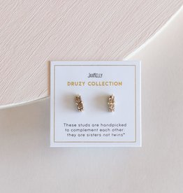 Druzy Bar Earrings - Rose Gold