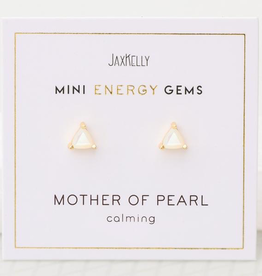 Mini Energy Gem Mother of Pearl Sterling Silver Base with18k Gold Plating Earrings