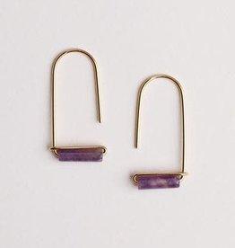 Gemstone Drop Earrings - Amethyst