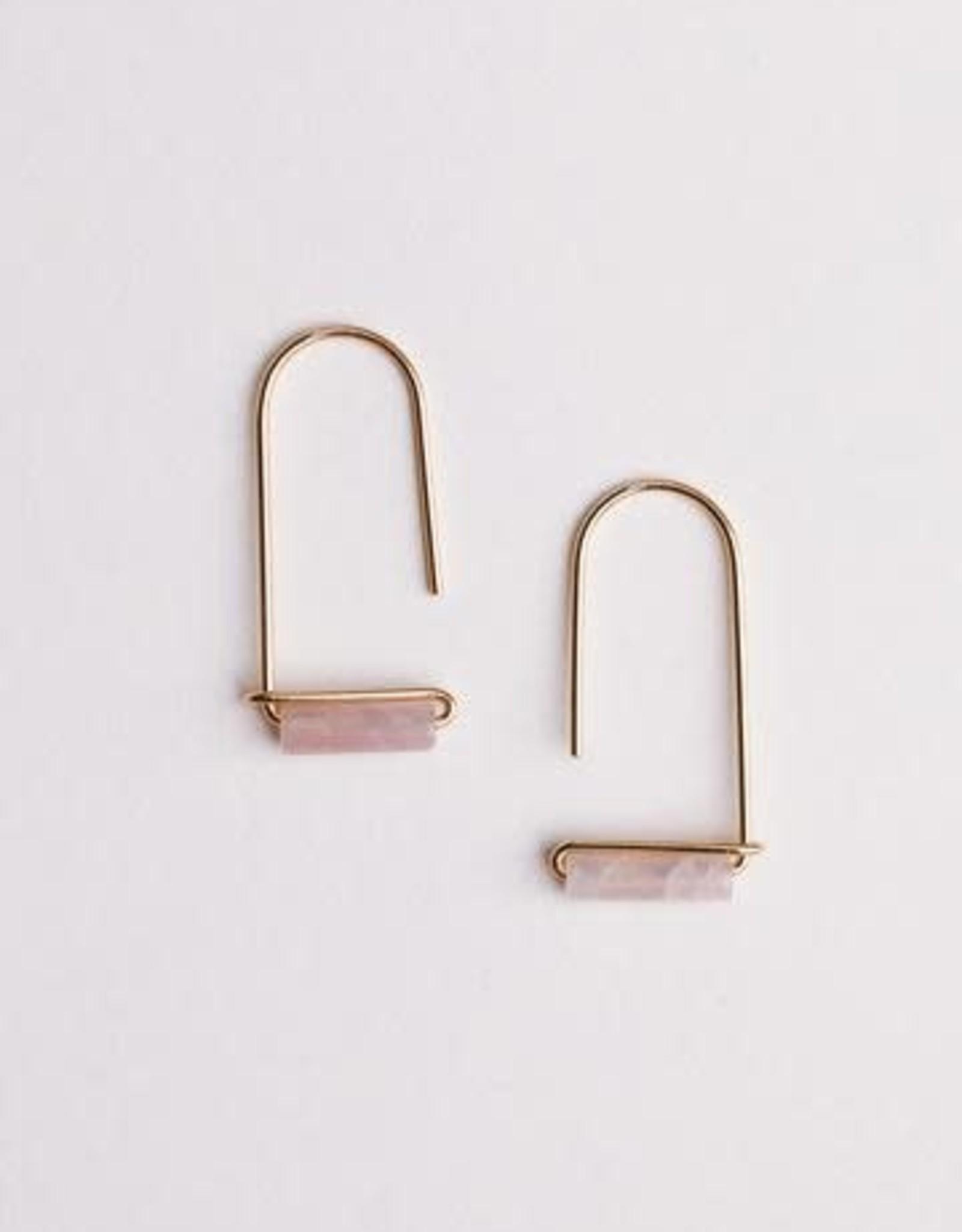 Rose Quartz Gemstone Drop Earrings