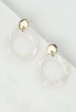White Odessa Hoop Earrings