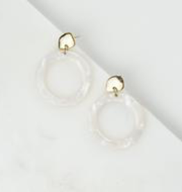 White Odessa Hoop Earrings