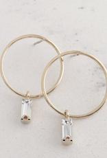 Gold Brass Plated Colette Drop Hoop Earrings