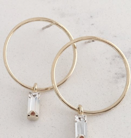 Gold Brass Plated Colette Drop Hoop Earrings