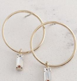 Gold Plated Brass Colette Drop Hoop Earrings