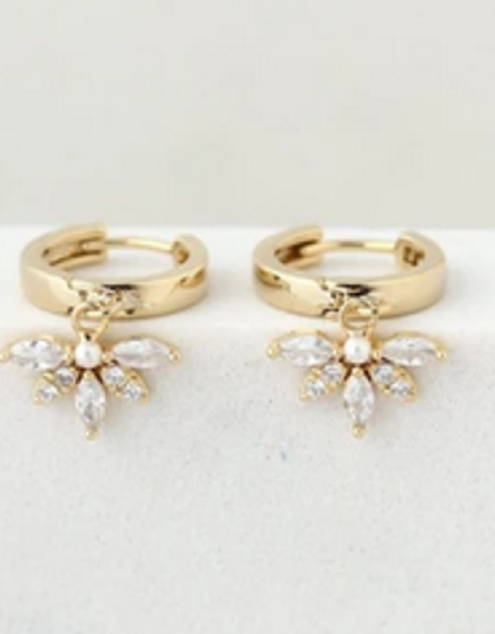 Gold Harlowe Hoop Faux Pearl Earring