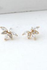 Gold Harlowe Stud Faux Pearl Earrings