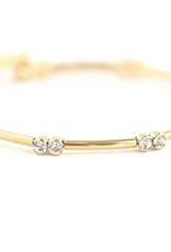 "7.5"" Gold Plated Brass Gemini Crystal Bangle"