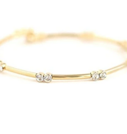 "Gemini Crystal Bangle 7.5"" - Gold"