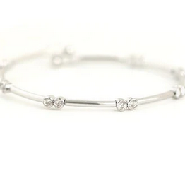 "7.5"" Silver Plated Brass Gemini Crystal Bangle"