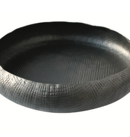 "14.5x2.75"" Low Black Crosshatch Aluminum Bowl"
