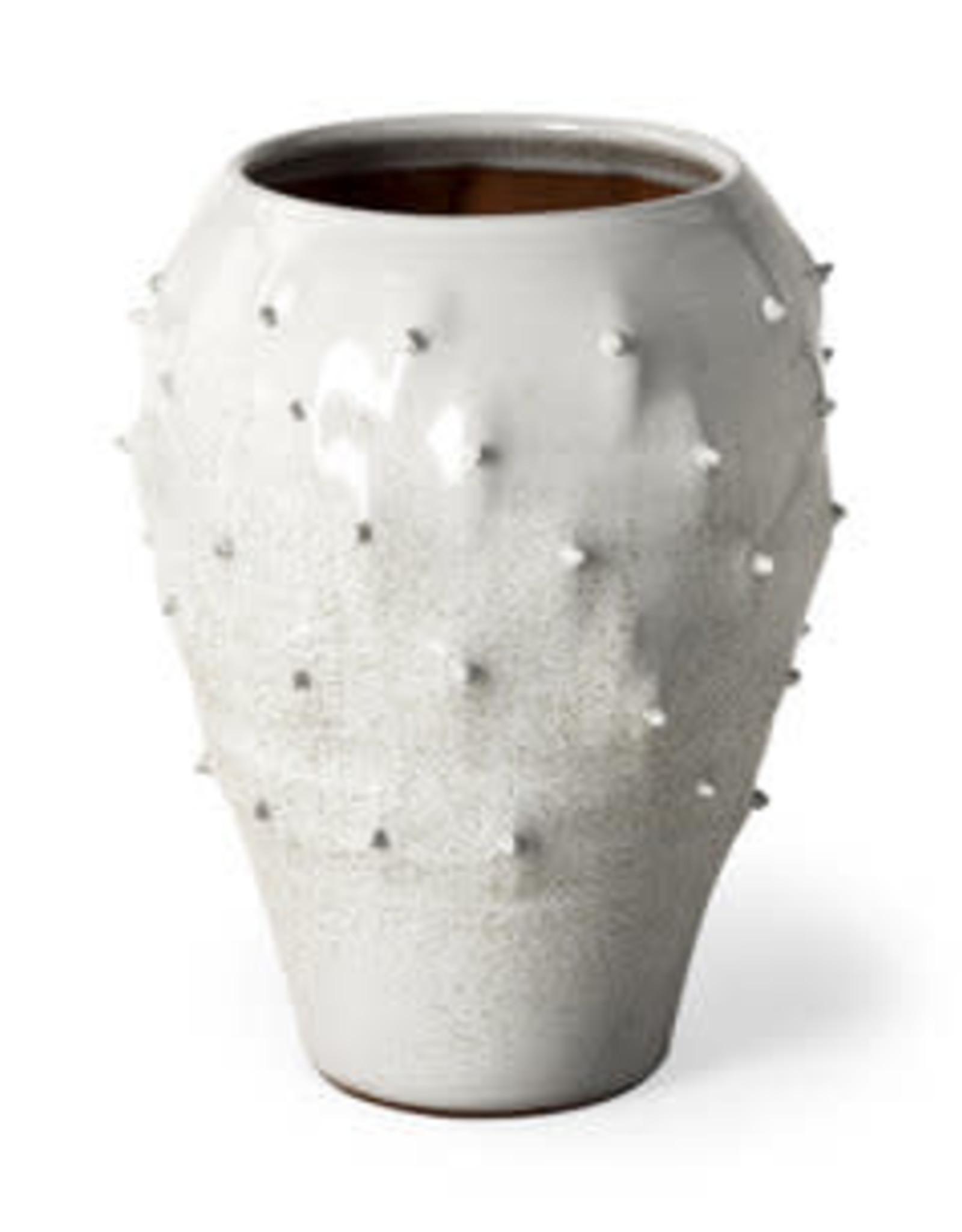 Julian Large Glossy White Ceramic Spoked Vase