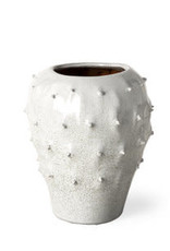 Julian Small Glossy White Ceramic Spoked Vase