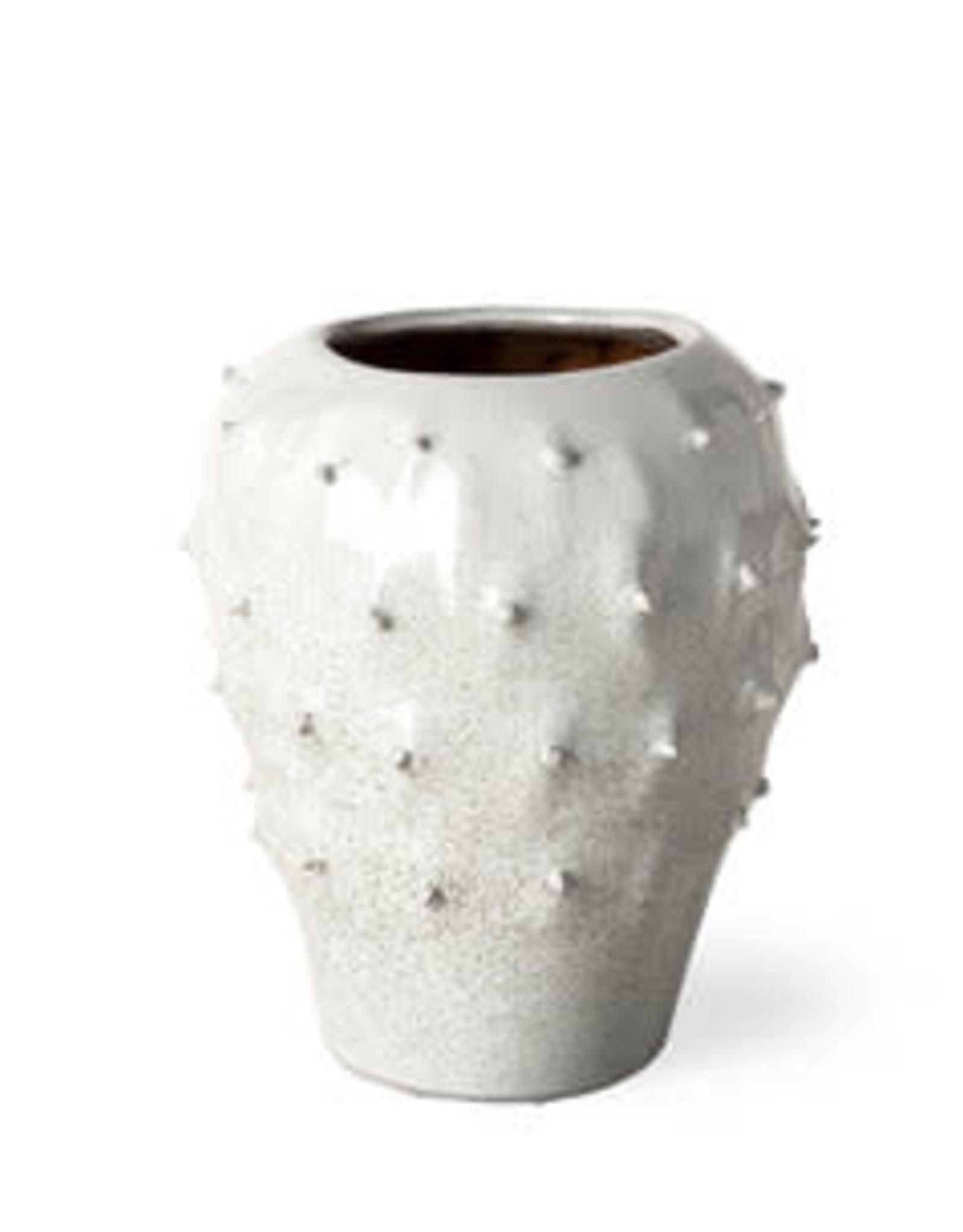 Julian Small Glossy White Ceramic Spoked Vase