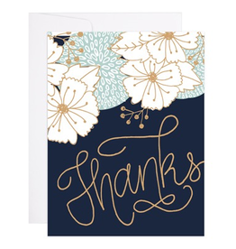 Gold Bouquet Thanks Card