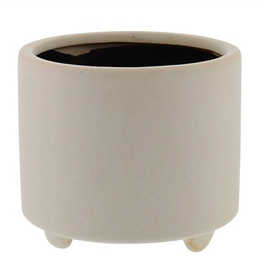 "6x6x5.25"" Matte White Simon Pot Footed"