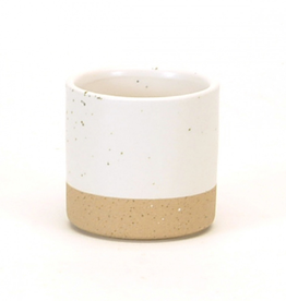 Small White Speckles Cylinder Pot