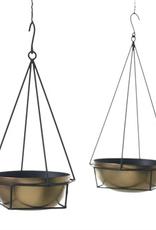 "Plant Hanger, Jaco, Black Metal with Brass Bowl, 6.25 x 11.25"""