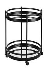 Ada Black Metal Frame 2 Tier Glass Shelf Bar Cart