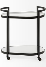Eleonore Bar Cart, Black Metal Frame with Glass Shelves